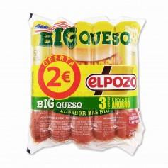 El Pozo Salchichas Cocidas de Cerdo y Pavo Big Queso - (3 Paquetes) - 600g