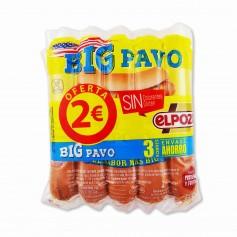 El Pozo Salchichas Cocidas Big Pavo - (3 Paquetes) - 600g